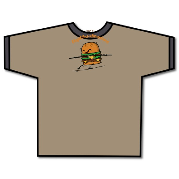 T-shirt ringer Fruit of the loom - Ringer Tee BURGER ADDICT