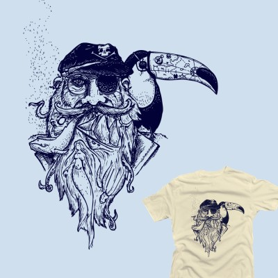 Pirate toucan tatoo