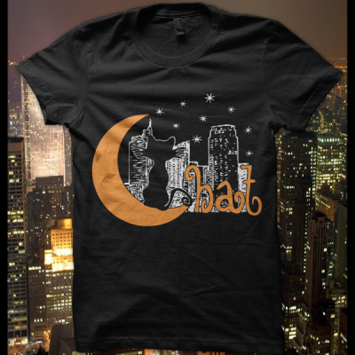 T-Shirt  Chat bestiole nuit chat animaux lune fun