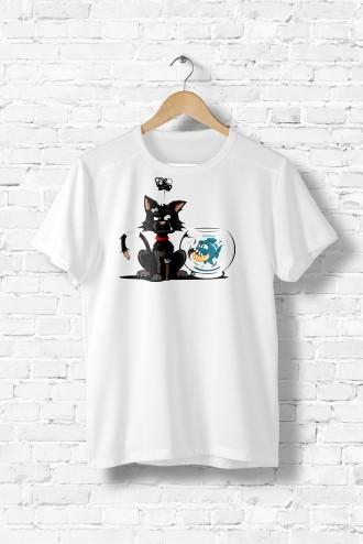 Tee shirt femme Le piranha et le chat poisson,