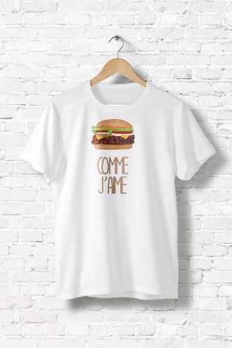 Tee shirt femme Comme j'aime hamburger, detournement ...